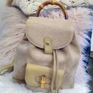 Gucci Bamboo handle mini tan backpack suede